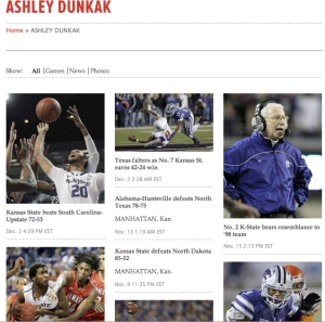 "If you Google ""Ashley Dunkak AP,"" this page comes up, which shows the stories I've written since the AP began giving freelancers bylines a month or so ago."
